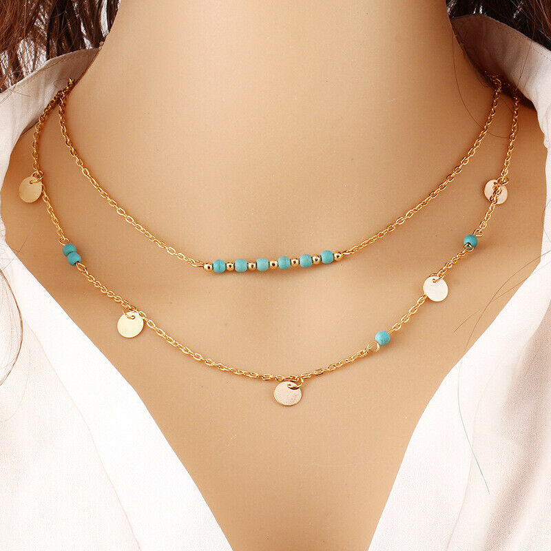 FINAL SALE Turquoise & 14k Gold-Plated Circle & Bar Pendant Necklace