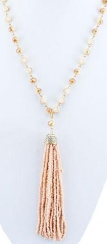 SALE Pink Crystal Tassel Necklace