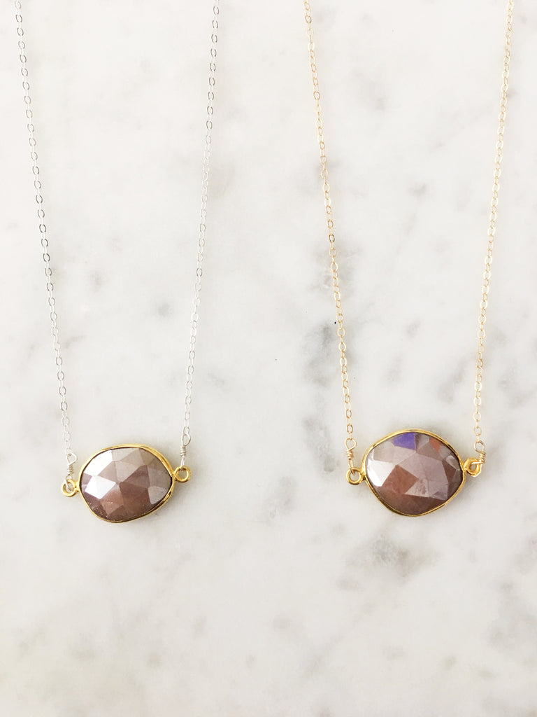 SALE Mrs. Parker Peach Moonstone Necklace