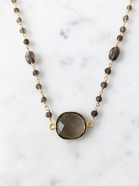 Mrs. Parker Endless Summer Necklace Smoky Quartz
