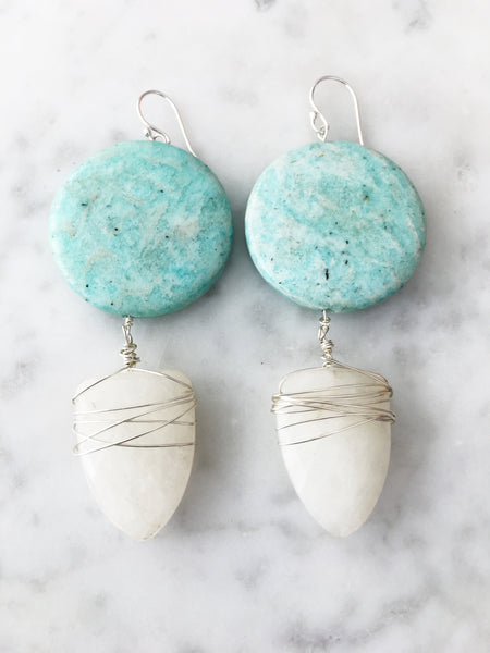 Silver Howlite Drop Earrings