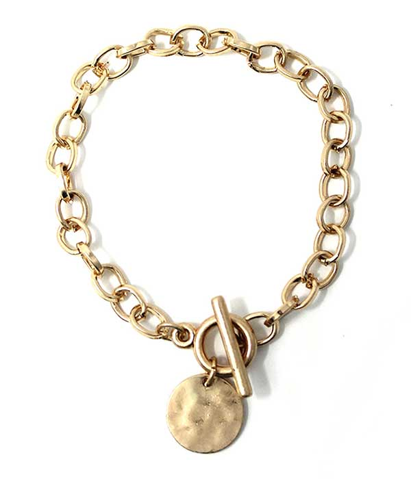 Gold Disc Charm Chain Toggle Bracelet