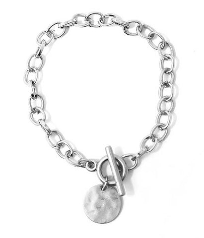 Silver Disc Charm Chain Toggle Bracelet