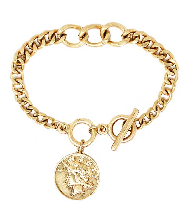 Gold Coin Charm Chain Toggle Bracelet