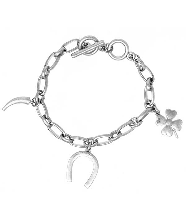 Silver Multi Lucky Charm Chain Toggle Bracelet Horse Shoe