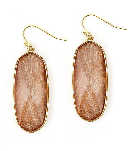 Gold Rose Rutilated Quartz Facet Stone Earring