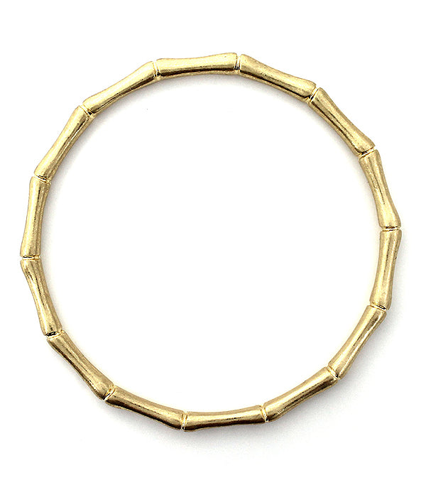 Gold Bamboo Metal Bangle Bracelet