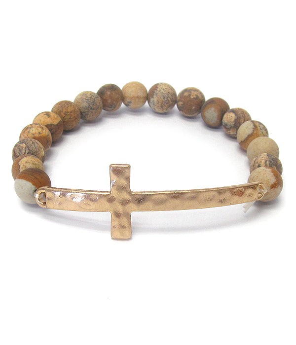 Semi Precious Stone Cross Stretch Bracelet - Jasper