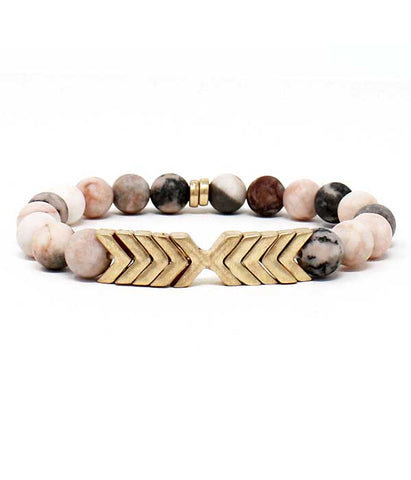 Pink Soap Stone Gold Chevron Stretch Bracelet