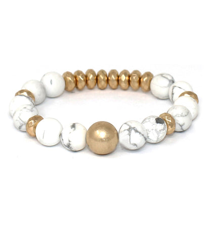White and Gold Multi ball stone stretch bracelet