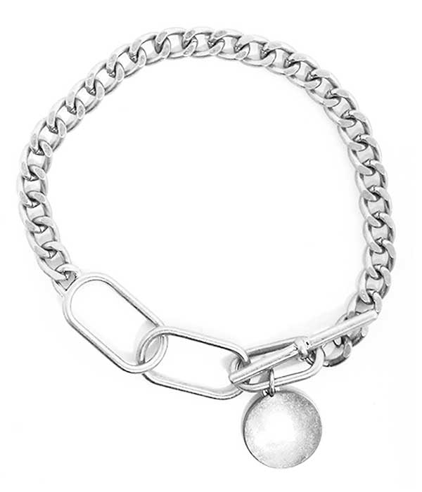 Silver Metal Disc Charm Chain Toggle Bracelet