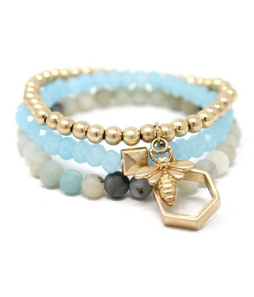 Blue Bee and Hive Charm and Mixed Ball Bead, Crystal and Soap Stone Triple Stretch Bracelet Set of 3