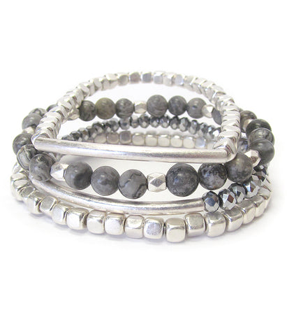 Multi bead Gray Soap Stone mix and layer stretch bracelet set of 3