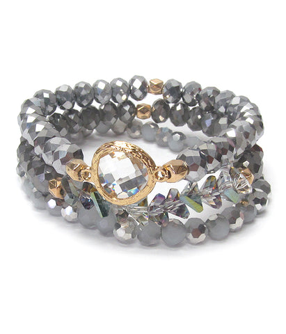 Gold Multi Facet Quartz Cystal Bead 3 Stretch Bracelet Set