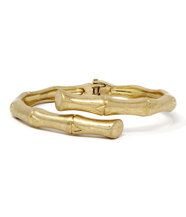 Gold Metal Bamboo Hinge Bangle Bracelet
