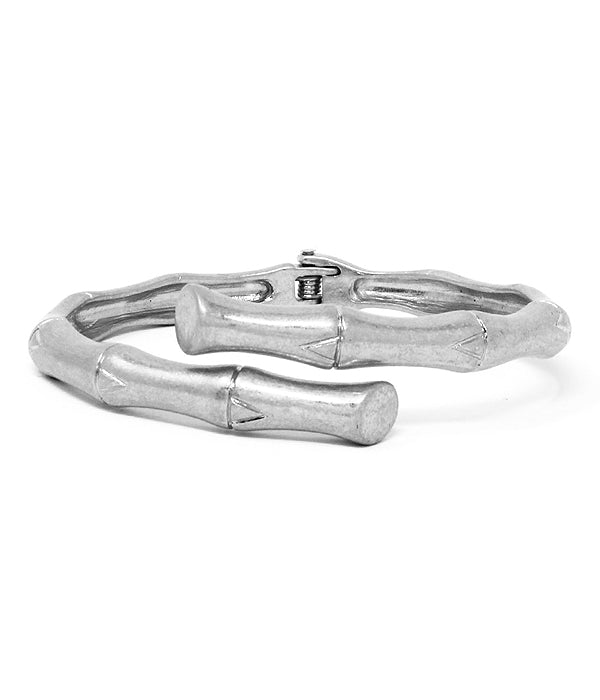 Silver Metal Bamboo Hinge Bangle Bracelet
