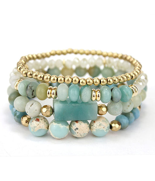 Multi Semi Precious Stone Amazonite and Soap Stone Mix 4 Stretch Bracelet Set