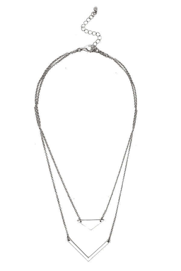Silver Double Layer Chevron Necklace