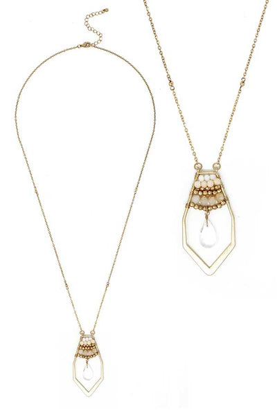 Pink, White and Gold Multi Bead Crystal and Facet Quartz Teardrop Long Necklace