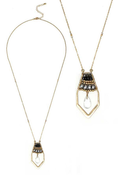 Black, Gray and Gold Multi bead Crystal and Facet Quartz Teardrop Long Necklace