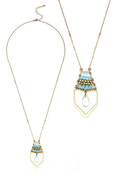 Aqua Blue, Sea Blue and Gold Multi Bead Crystal and Facet Quartz Teardrop Long Necklace