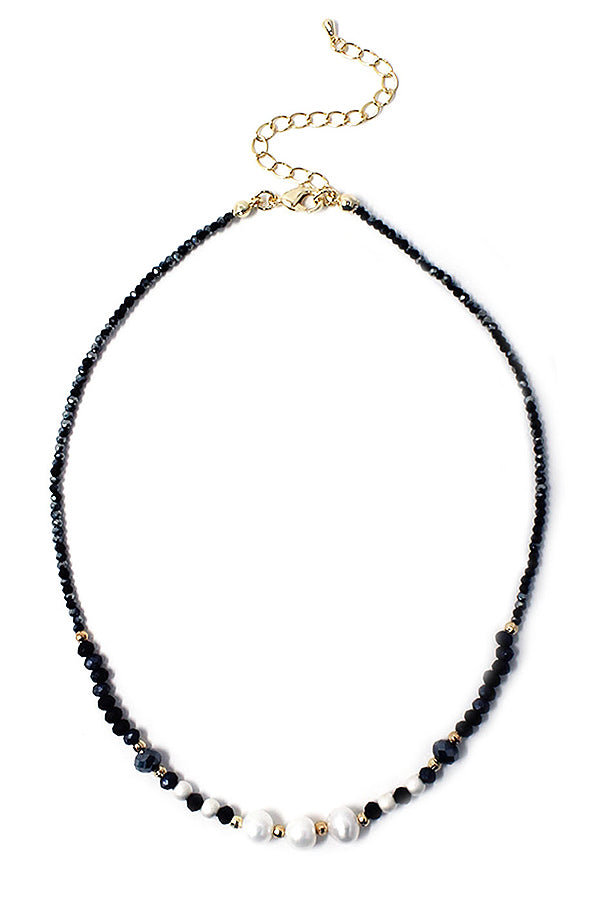 Multi freshwater pearl and facet stone Black Spinel mix necklace