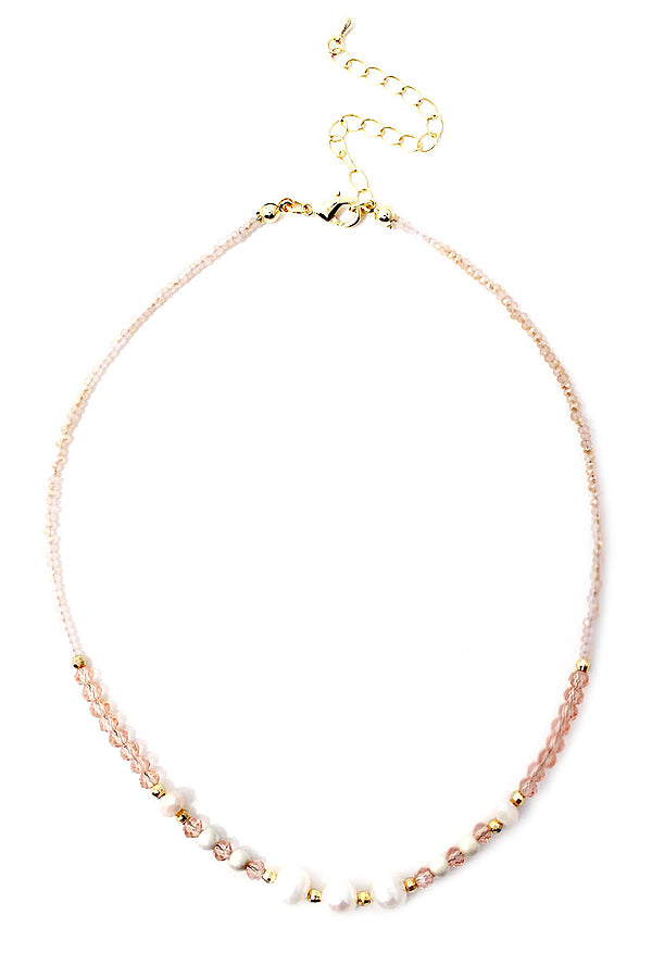 Multi freshwater pearl and facet stone rose quartz mix necklace