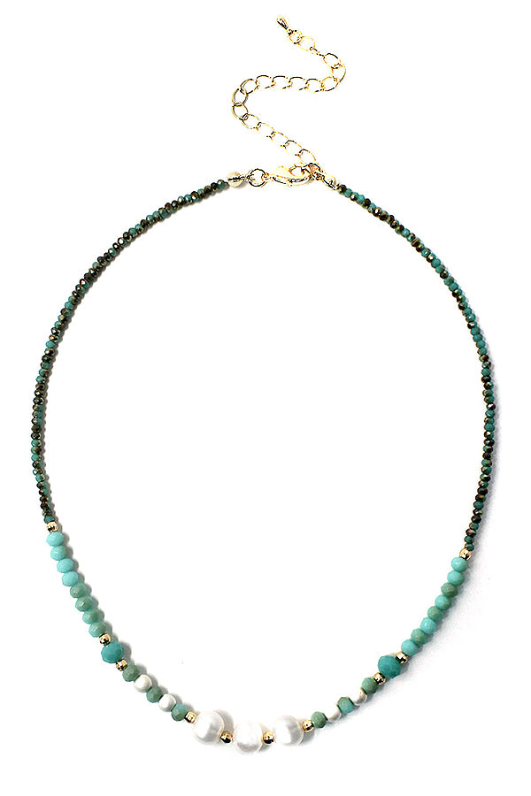 Multi freshwater pearl and facet stone Amazonite mix necklace