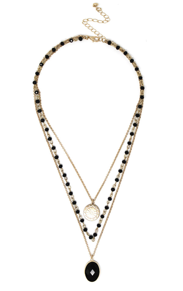 Gold-Plated & Black Onyx Facet Stone Multi-Layered Pendant Necklace