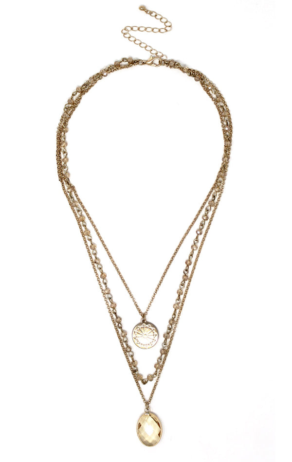 Gold-Plated & Topaz Facet Stone Multi-Layered Pendant Necklace