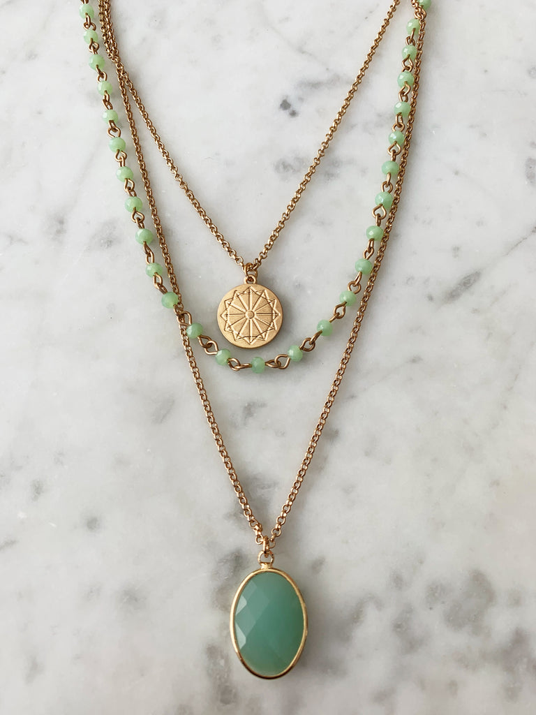 Gold-Plated & Green Chalcedony Facet Stone Multi-Layered Pendant Necklace