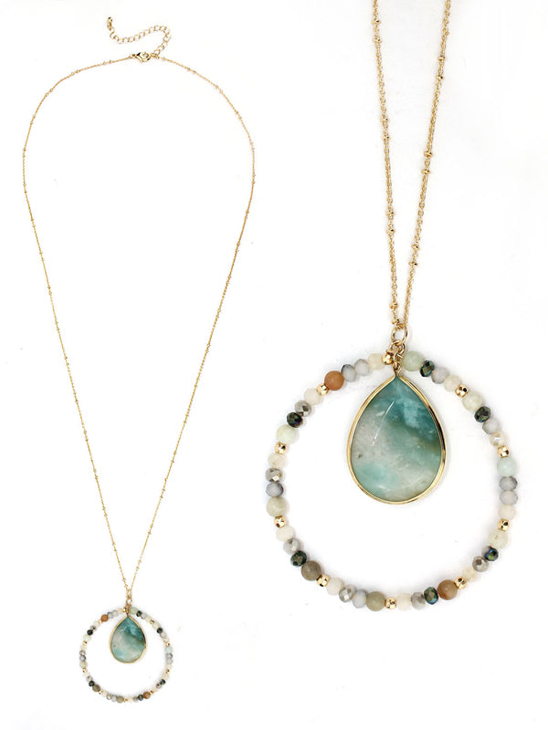 Semi precious stone and bead hoop pendant long necklace