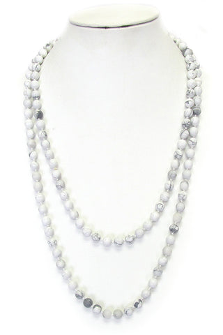 Semi Precious Stone Knot Long Necklace - White Soap Stone
