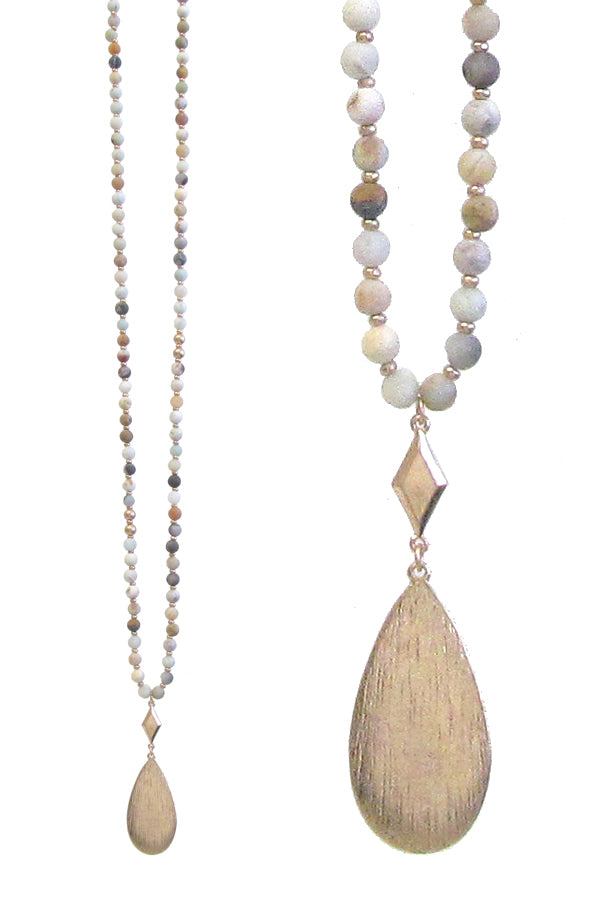 Metal teardrop pendant and multi semi precious stone necklace - Amazonite