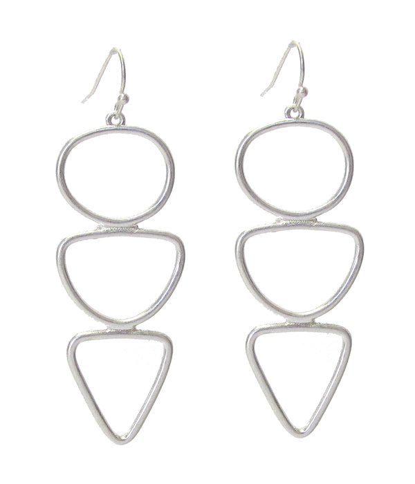 Silver Multi Shape Link Drop Earring