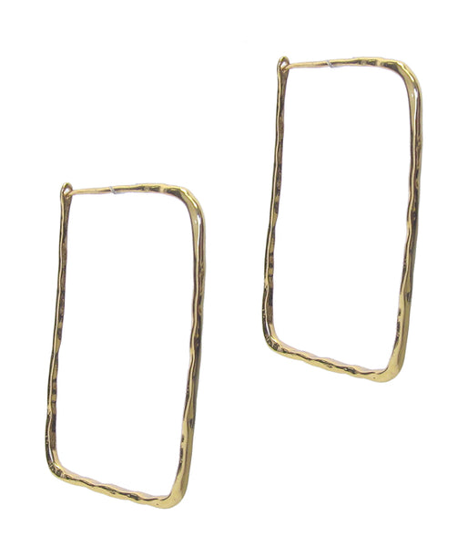 Gold wire Rectangle Earring
