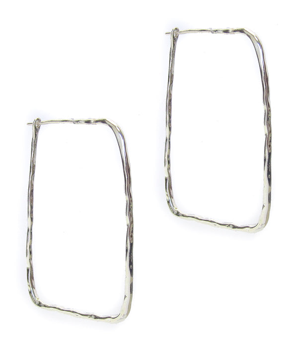 Silver wire rectangle earring