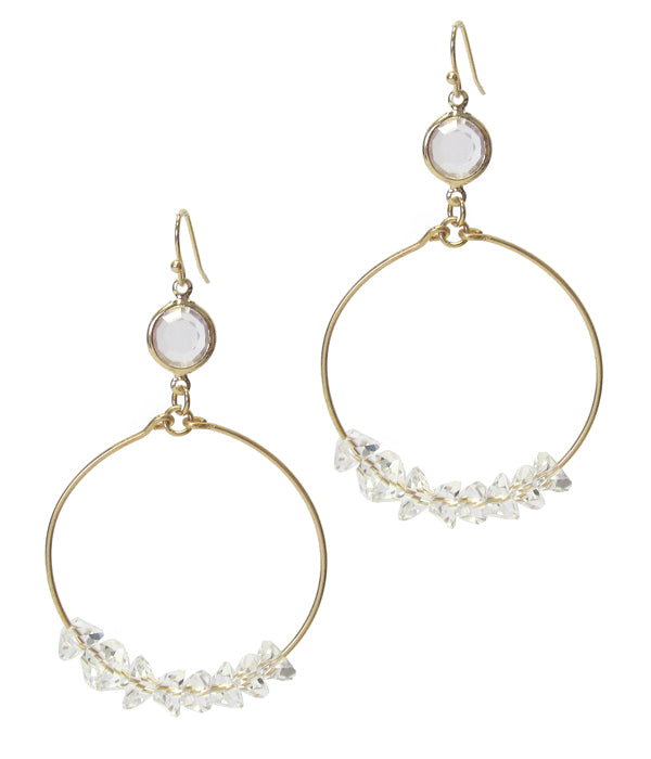 Gold Facet Quartz Stone and Wire Bangle Drop Earring