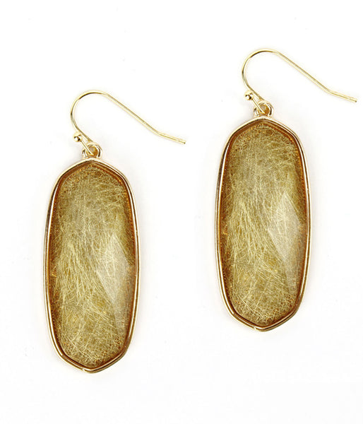 Gold Facet Golden Rutilated Quartz stone drop earring