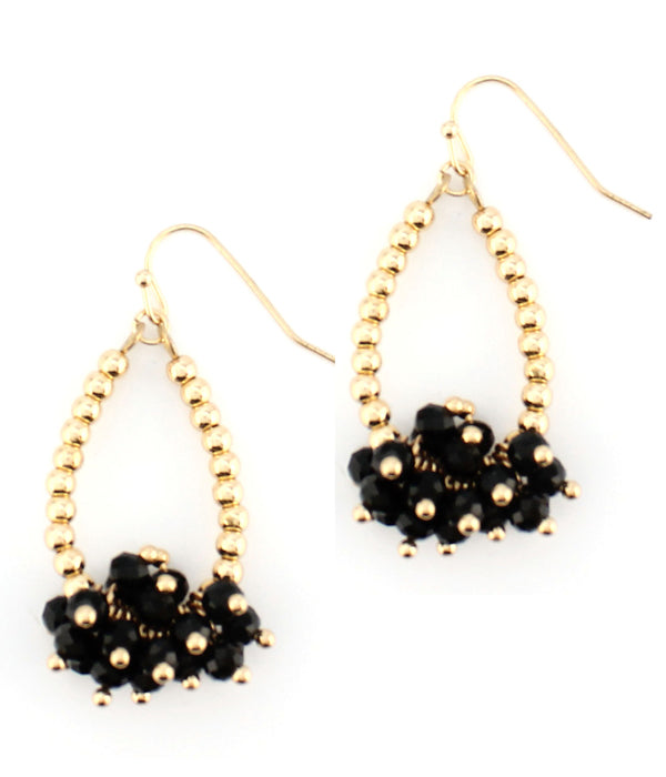 Multi facet Black Onyx dangle teardrop earring