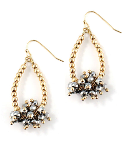Multi facet Polished Pyrite dangle teardrop earring