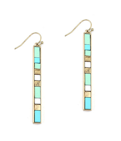 Multi color mix bar earring