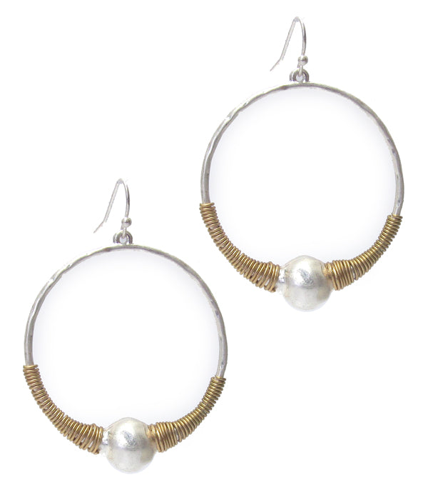 Gold and Silver Wire Wrap Hoop Earring with Pearl