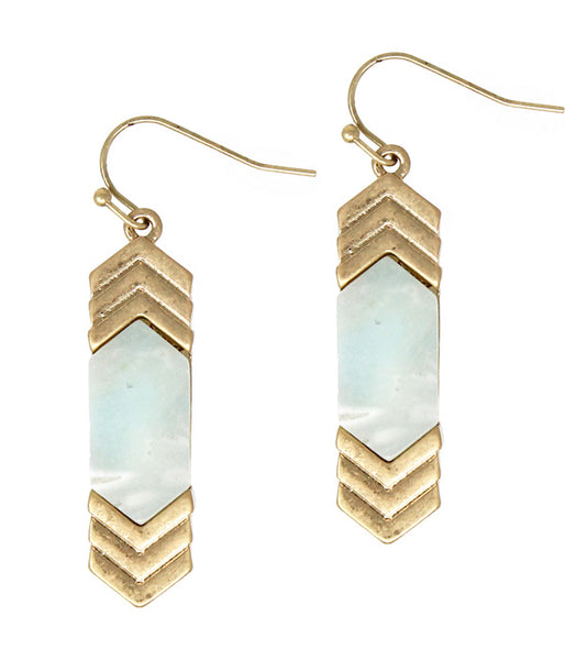 Blue Amazonite Semi precious stone and Gold metal chevron earring