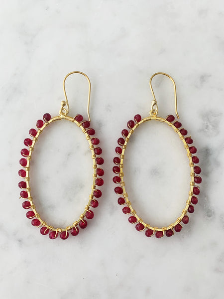 Oval Earrings Gold Ruby