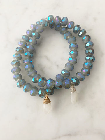Stretch Wrap Bracelet Labradorite Crystal with Sterling Silver and 14k gold fill Wrapped Moonstone