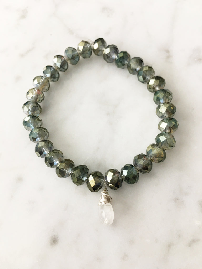 Stretch Wrap Bracelet Green Blue Crystals with Silver Wrapped Moonstone