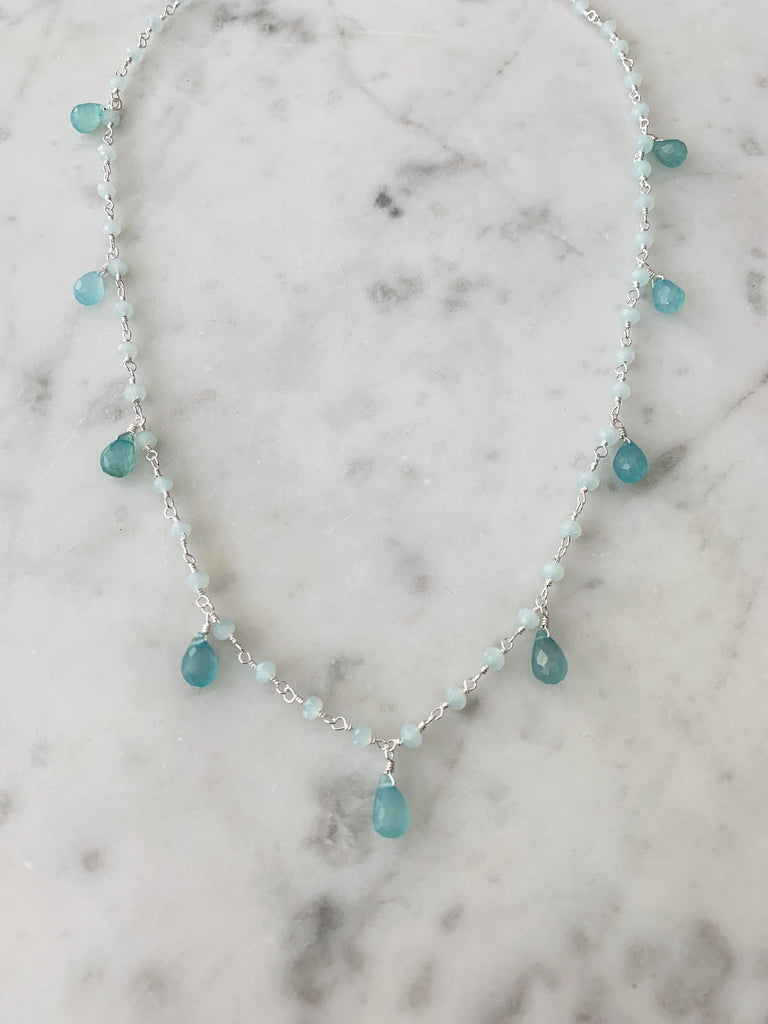 Silver Chalcedony Drop Balmy Nights Necklace