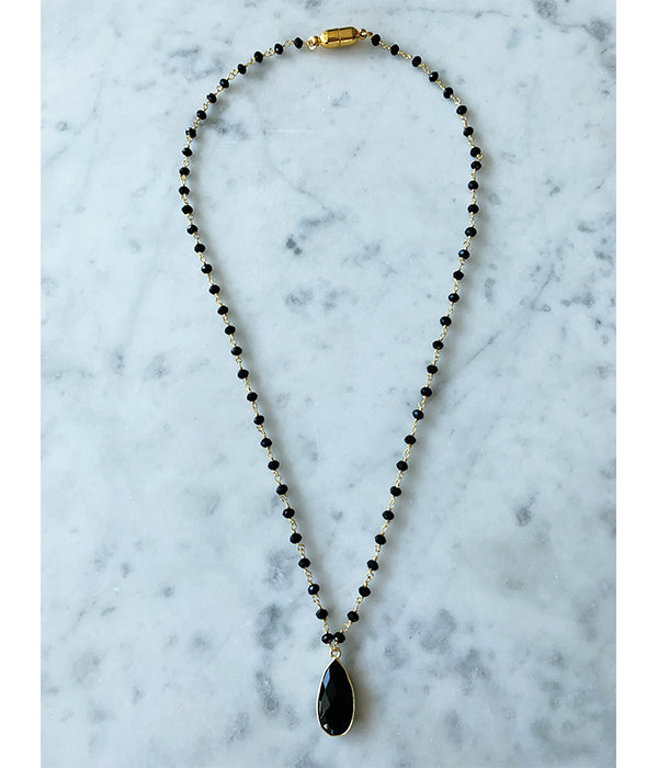 Balmy Nights Pendant Necklace Black Onyx with Black Onyx Drop