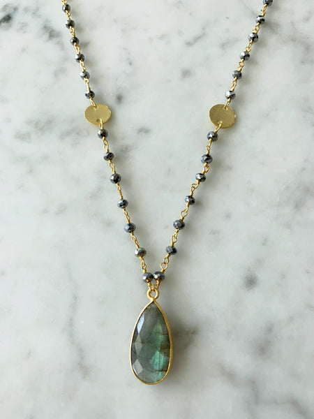 Balmy Nights Pendant Necklace Polished Pyrite with Labradorite Drop